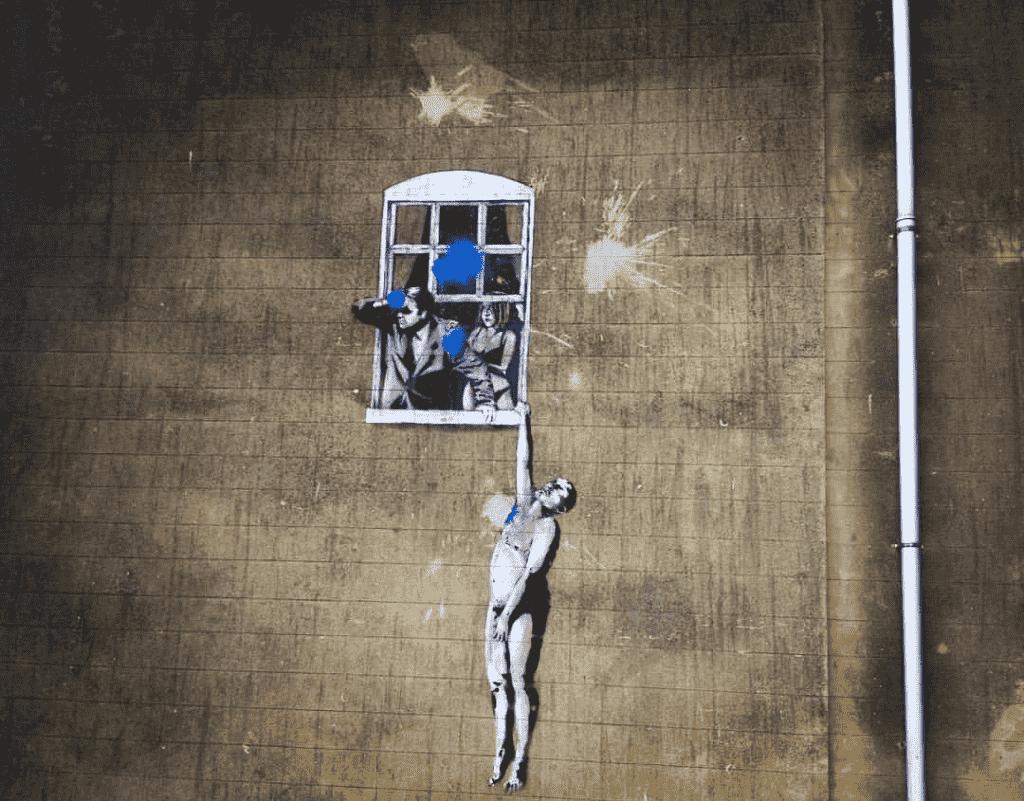 ¿Qué visitar en Bristol? Banksy naked man bristol